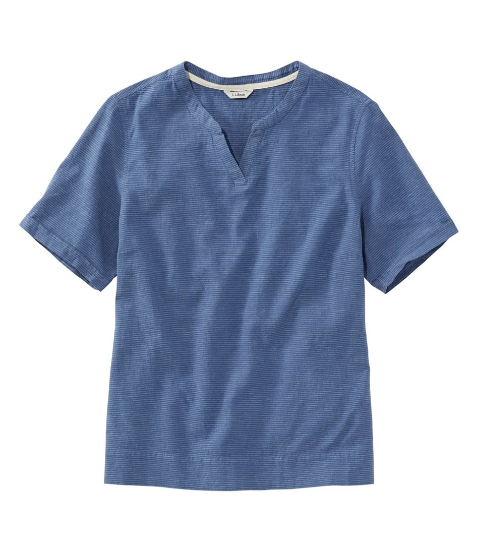 Women's Textured Linen/Cotton Shirt, Short-Sleeve Stripe
