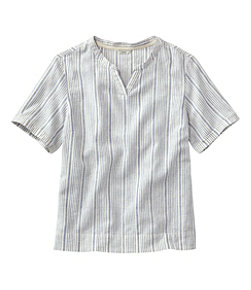 Women's Textured Linen/Cotton Shirt, Short-Sleeve Stripe