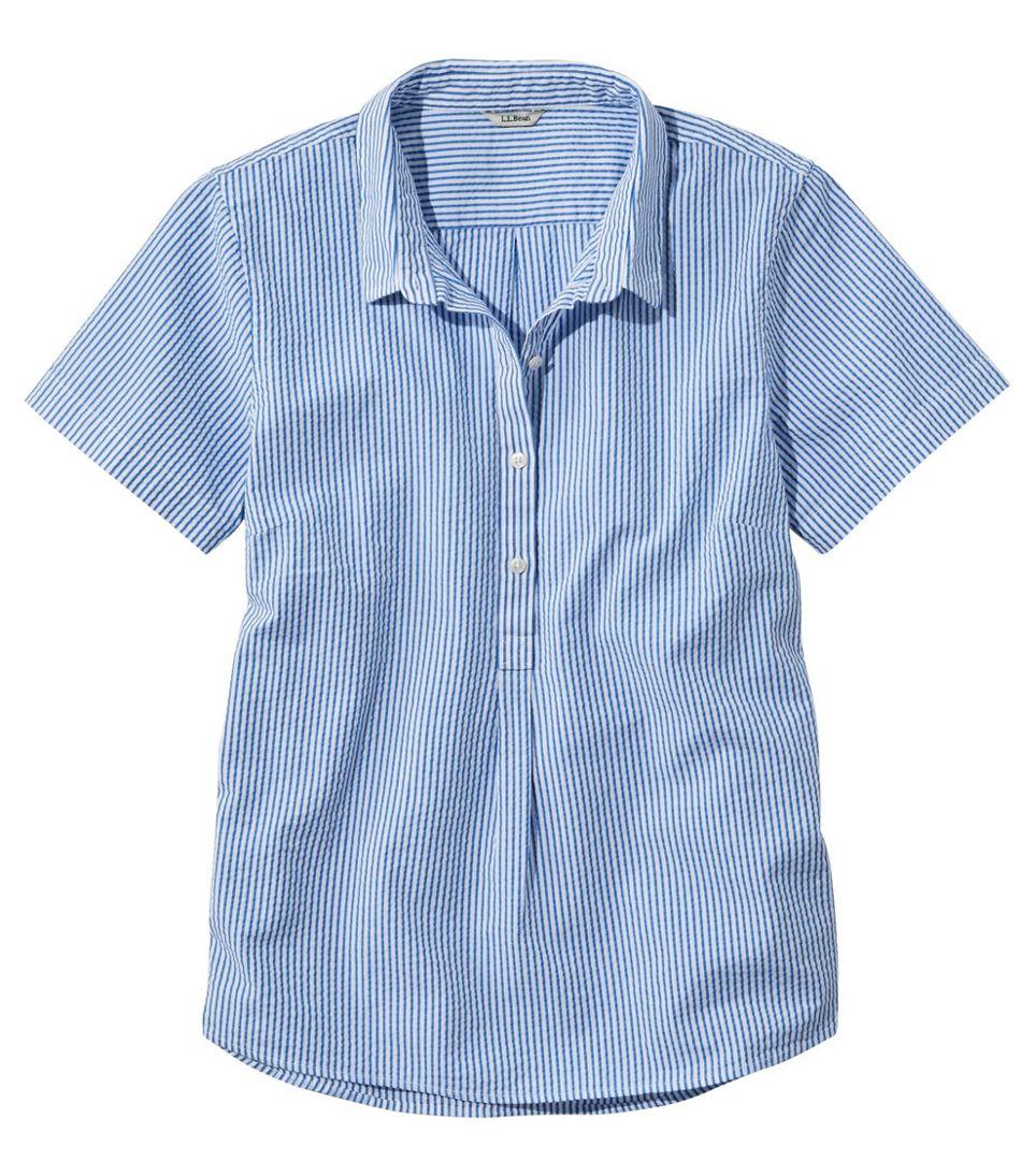 Women's Vacationland Seersucker Shirt, Short-Sleeve Popover Stripe