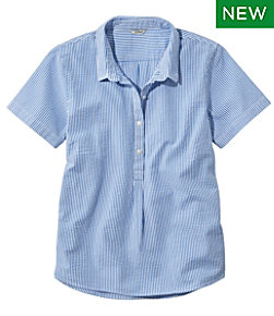 Women's Vacationland Seersucker Shirt, Short-Sleeve Popover Stripe