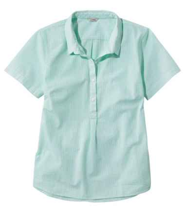 Vacationland Seersucker Shirt, Short-Sleeve Popover Stripe