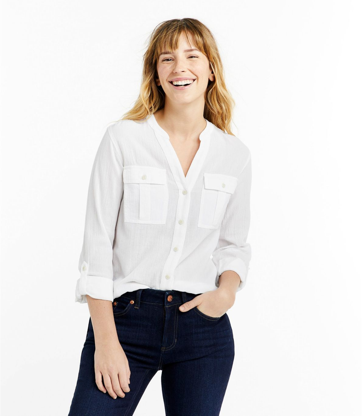 Women's Soft Organic Cotton Crinkle Shirt, Roll-Tab