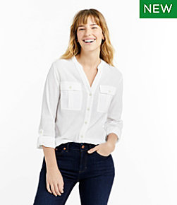 Women's Soft Cotton Crinkle Shirt, Roll-Tab