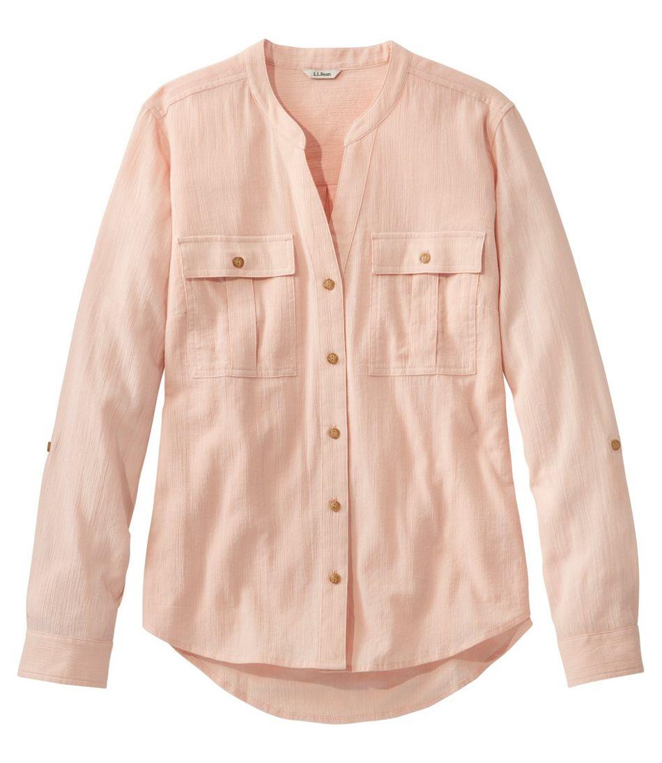 Women's Soft Organic Cotton Crinkle Shirt, Roll-Tab
