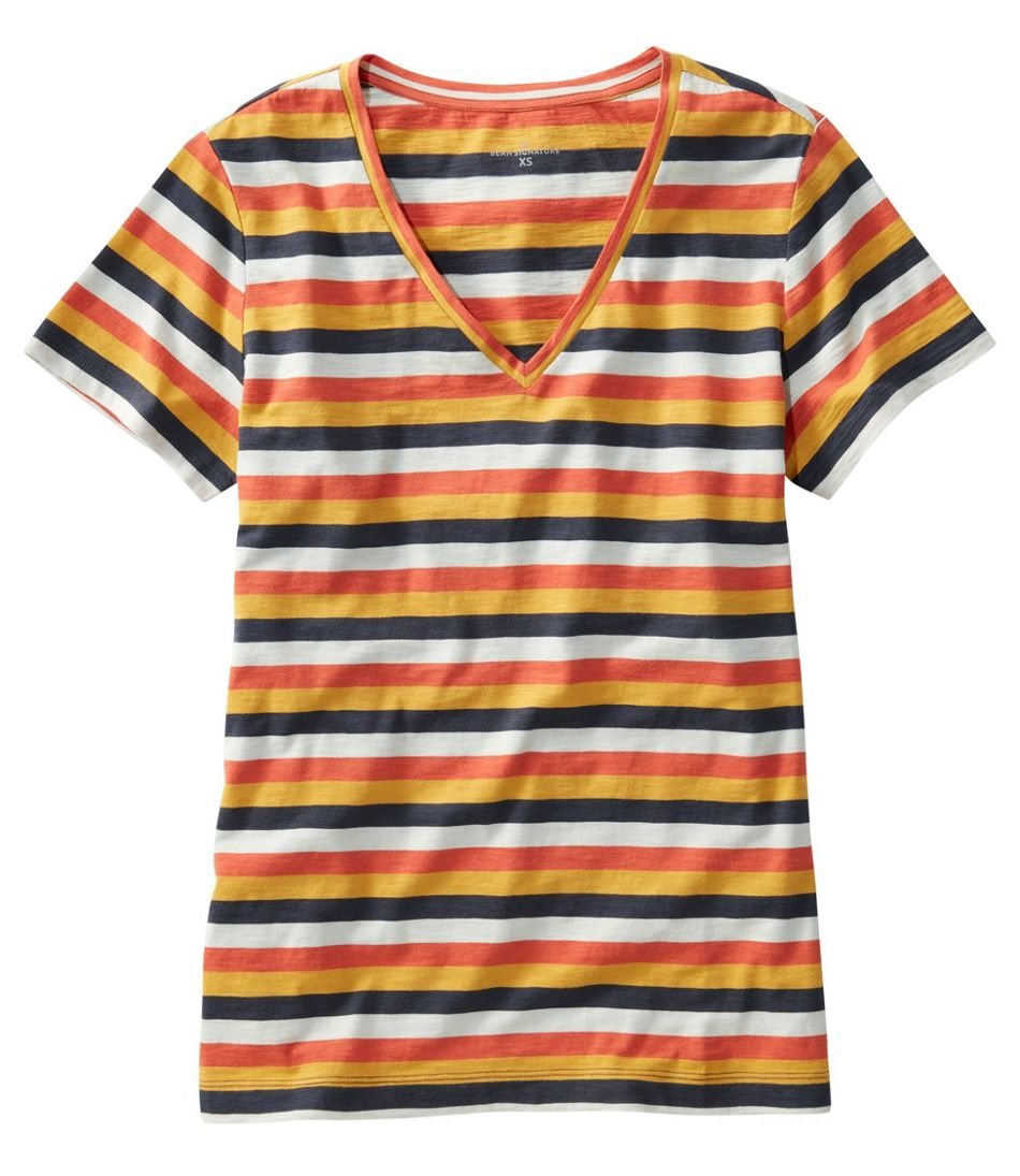 Women's Signature Slub Knit Tee, V-Neck Pattern