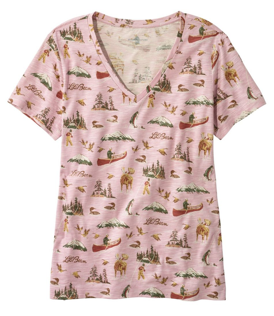 Women's Signature Slub Knit Tee, V-Neck Pattern