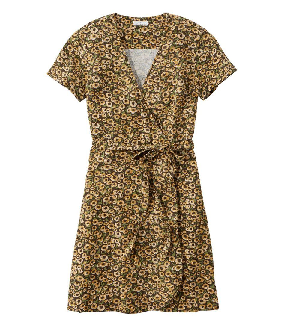 Women's Signature Gauzy Textured Wrap Dress, Print