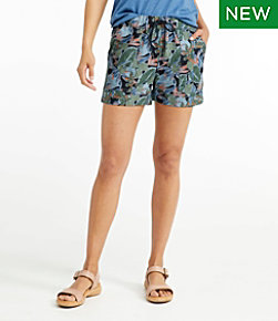 Signature Linen/Cotton Pull-On Shorts, Print