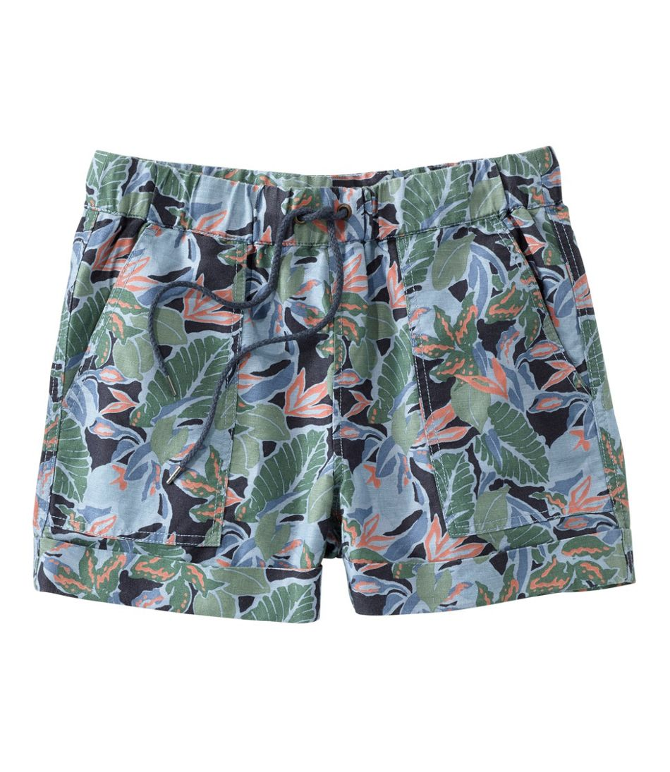 Women's Signature Linen Cotton Pull On Shorts, Print