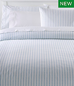 Sunwashed Percale Comforter Cover, Stripe Leaf