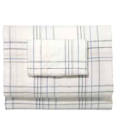 Sunwashed Linen Sheet Collection, Plaid