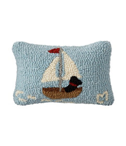 "Wool Hooked Throw Pillow, Lakeside Labs, 8"" x 12"""