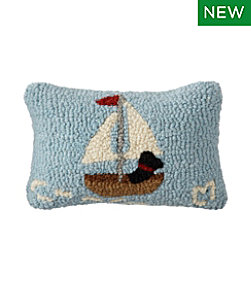 Wool Hooked Throw Pillow, Lakeside Labs