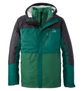 L.L.Bean Men's Trail Model Waterproof 3-in-1 Jacket (Black Forest Green/Camp Green)