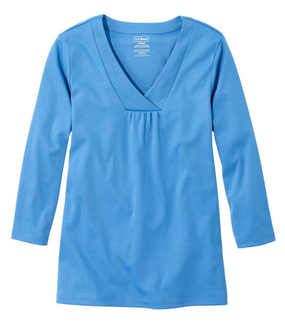 Women's Pima Cotton Tee, Soft V-Neck, Three-Quarter Sleeve