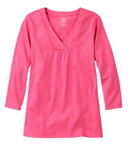 Women's Pima Cotton Tee, Soft V-Neck, Three-Quarter Sleeve
