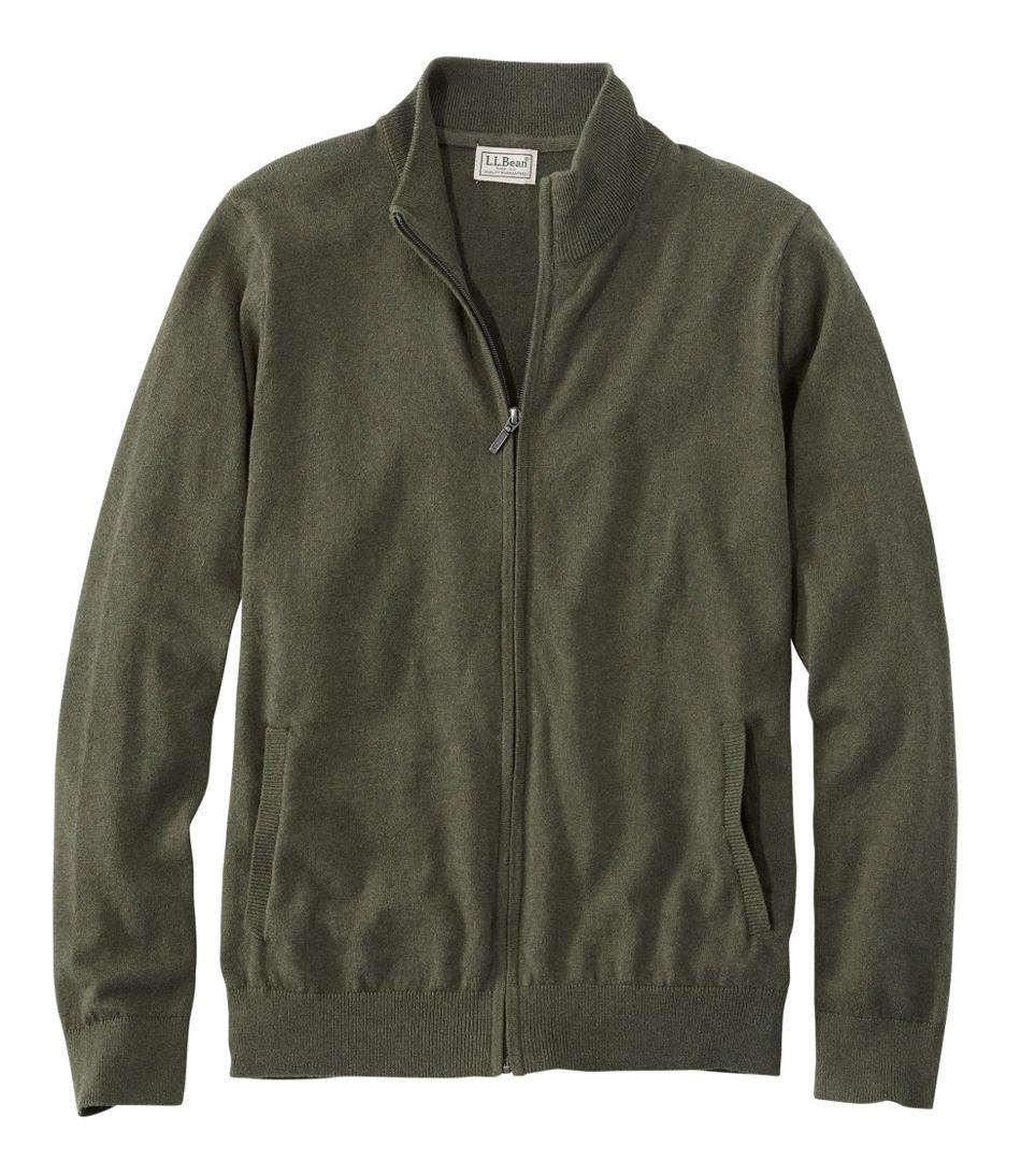 Men's Cotton/Cashmere Sweater, Full Zip