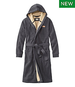 Men's Bonded Waffle Fleece Robe, Hooded