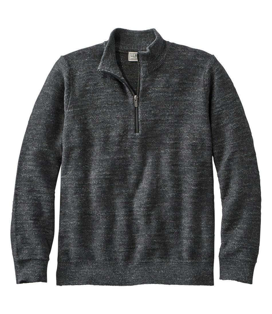 Men's Textured Organic Cotton Sweater, Quarter-Zip