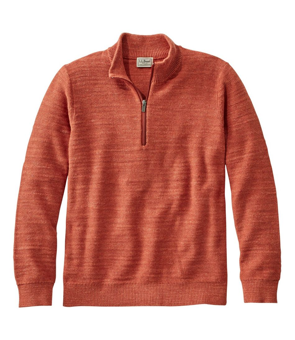Men's Textured Organic Cotton Sweater, Quarter-Zip