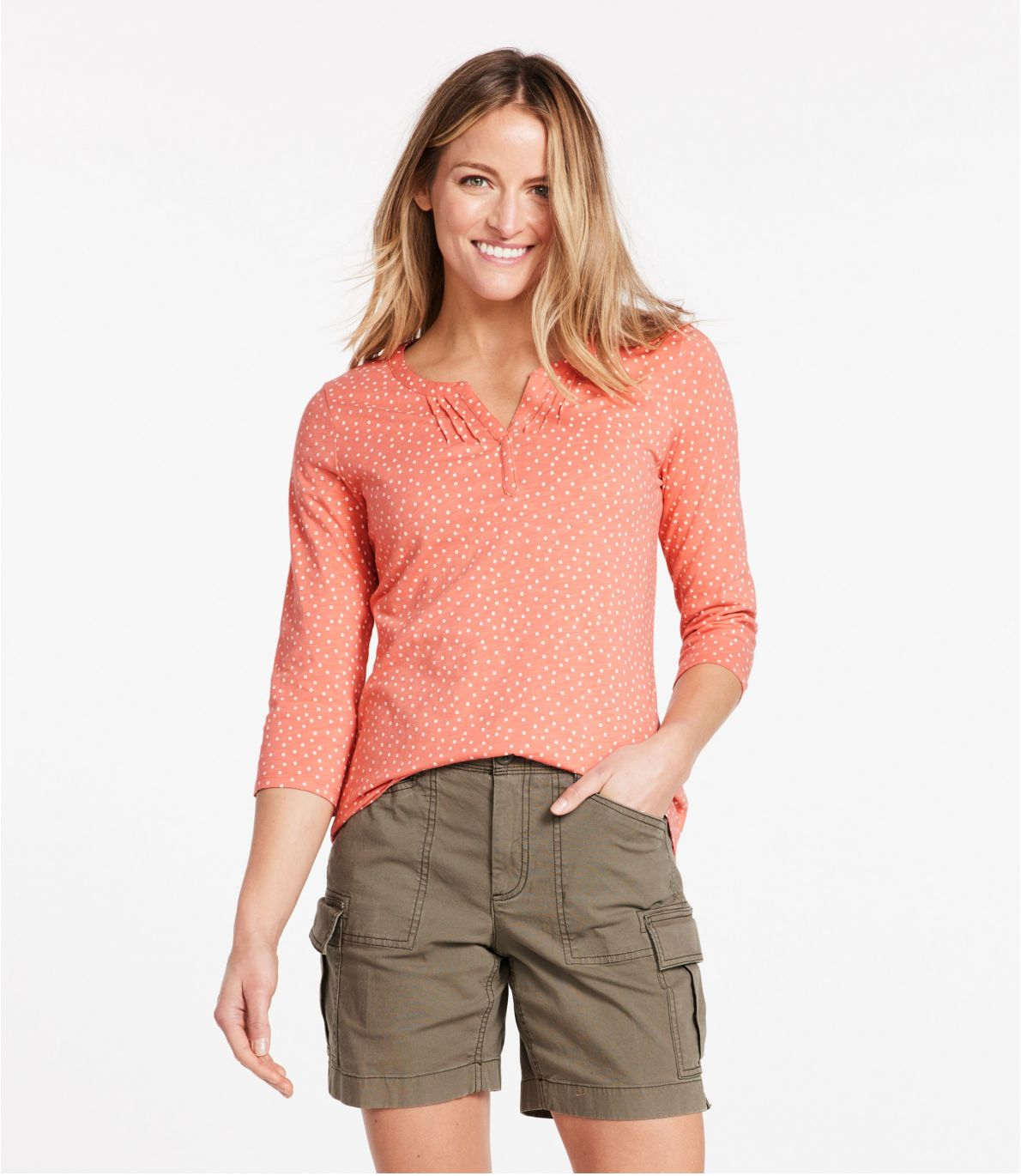 Women's Organic Cotton Tee, Splitneck Three-Quarter-Sleeve Print