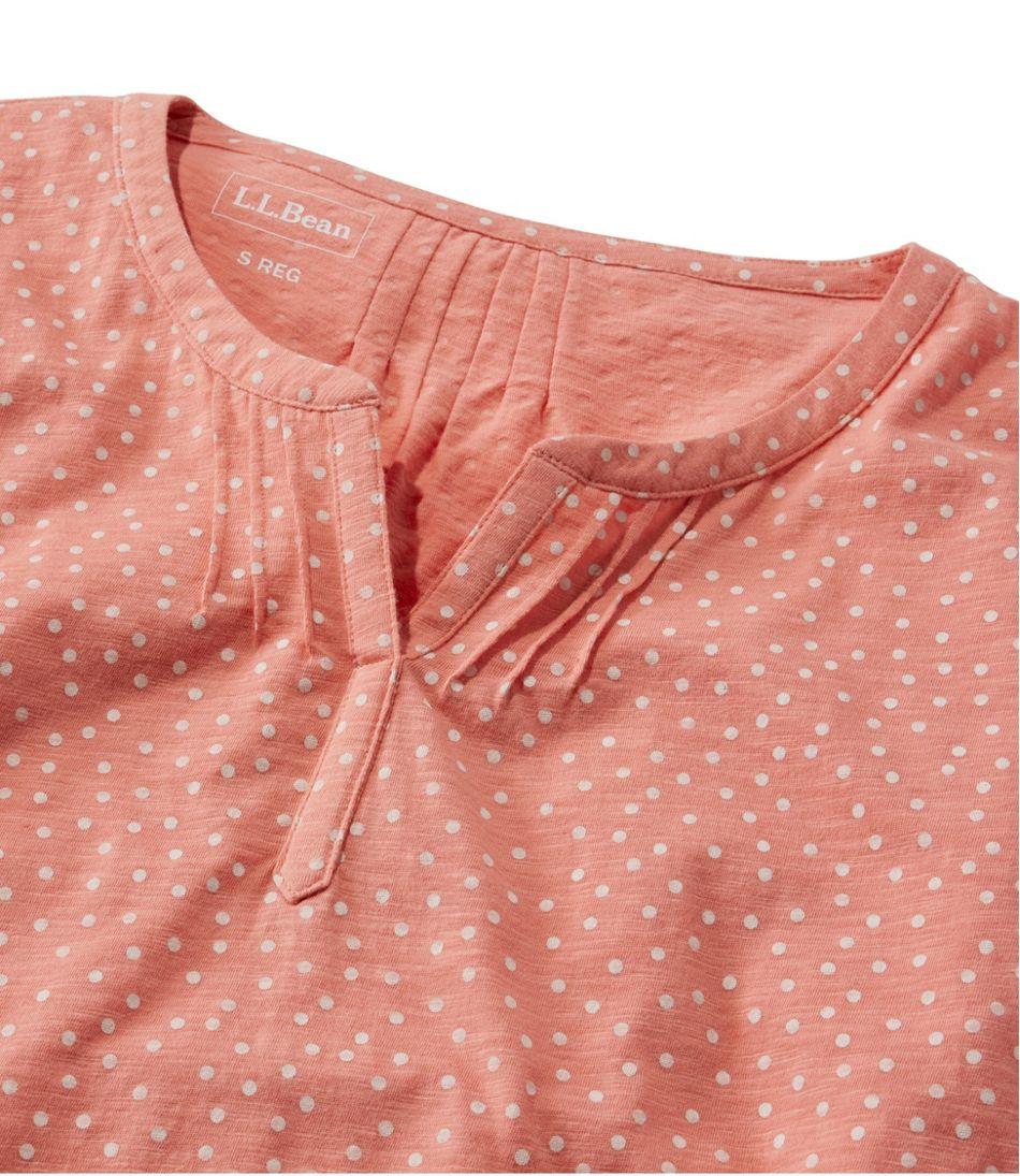 Women's Organic Cotton Tee, Splitneck Three-Quarter-Sleeve Print