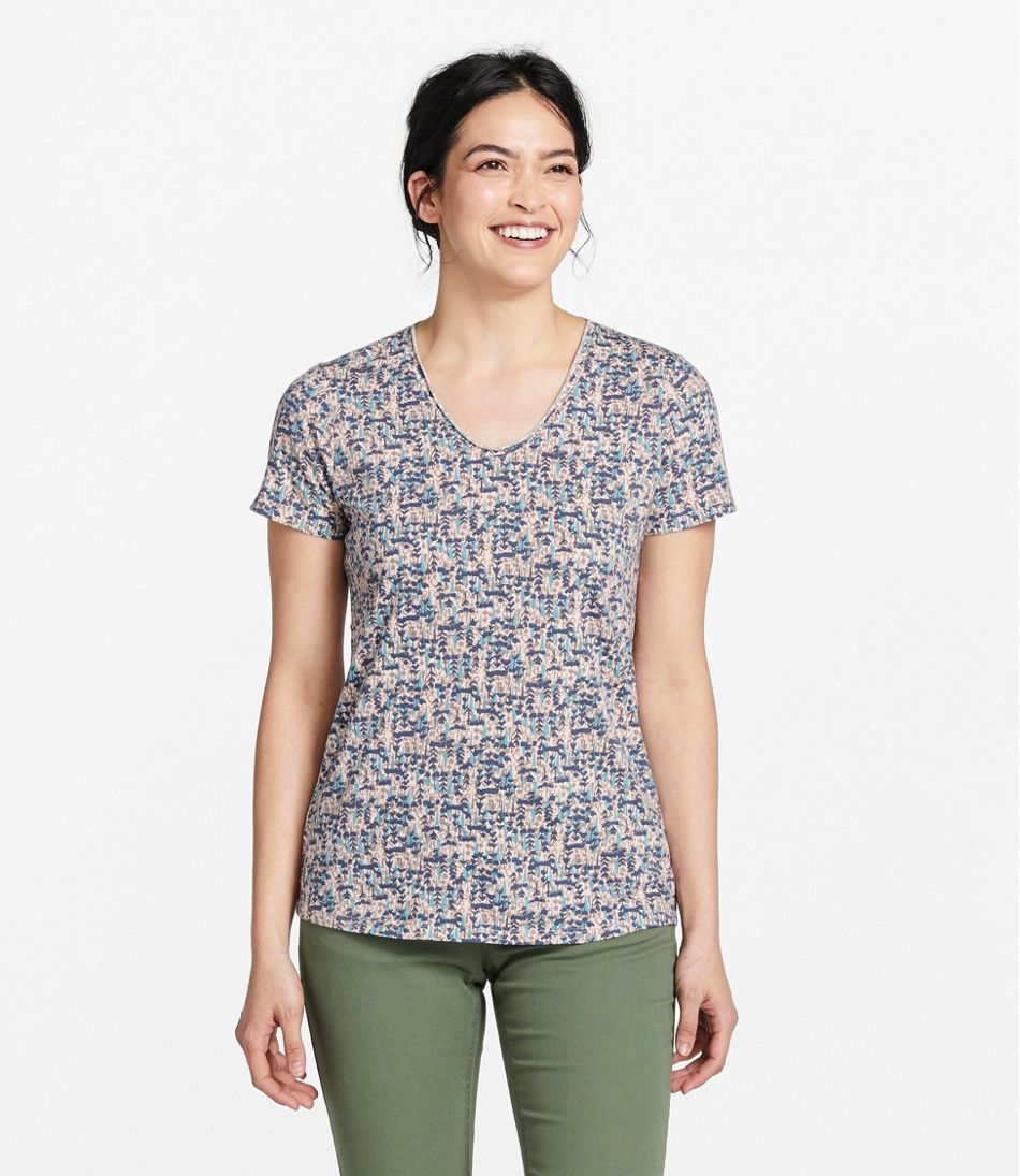 Women's Organic Cotton Tee, V-Neck Short-Sleeve Print