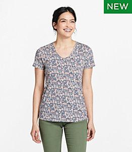 Women's Organic Cotton Tee, V-Neck Short-Sleeve Print