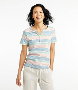 Women's L.L.Bean Tee, Short-Sleeve Splitneck Henley, Stripe