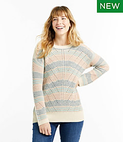 Women's Linen Blend Sweater Pullover Stripe Regular