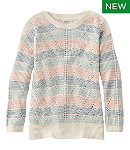 Women's Linen-Blend Sweater, Pullover Stripe