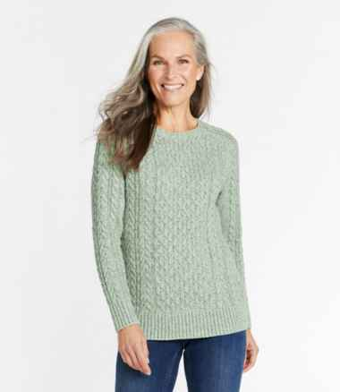 Women's Cotton Ragg Sweater, Cable Crewneck