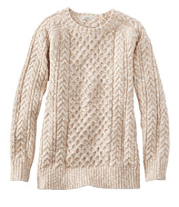 Women's Cotton Ragg Sweater, Cable Crewneck