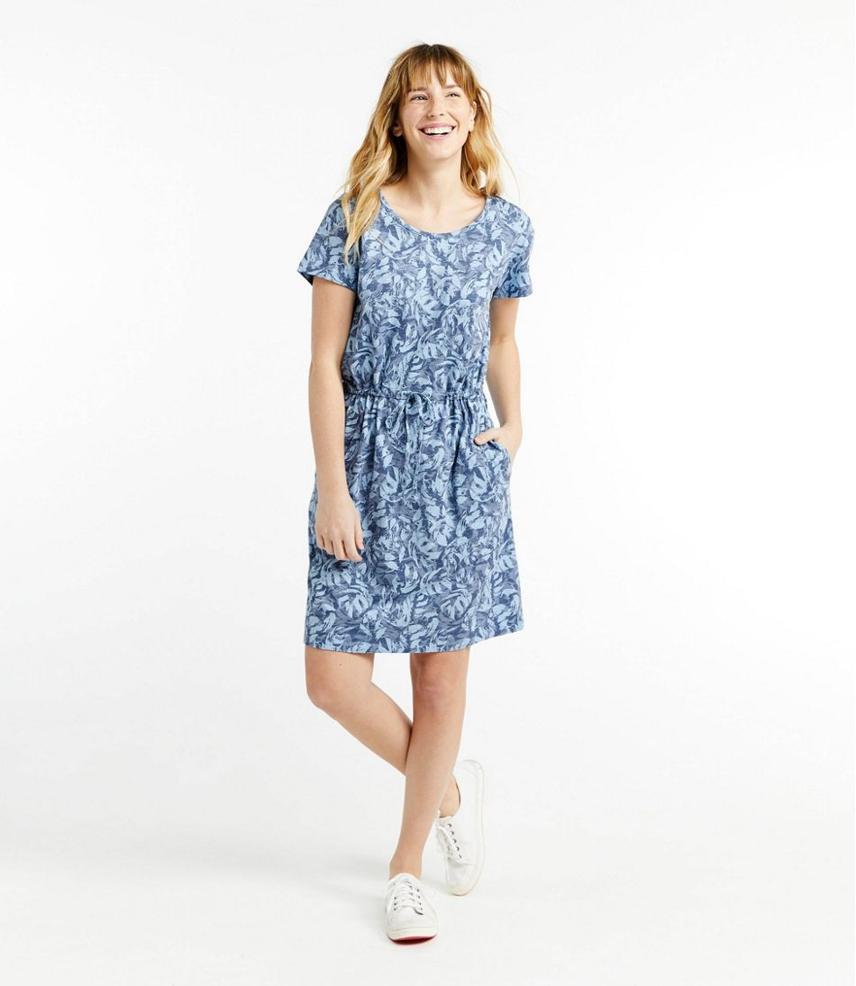 Women's Cotton/Tencel Slub Dress, Short-Sleeve Tie-Front Print