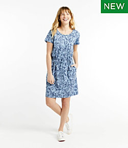 Women's Cotton/Tencel Slub Dress, Short-Sleeve Tie-Front Print