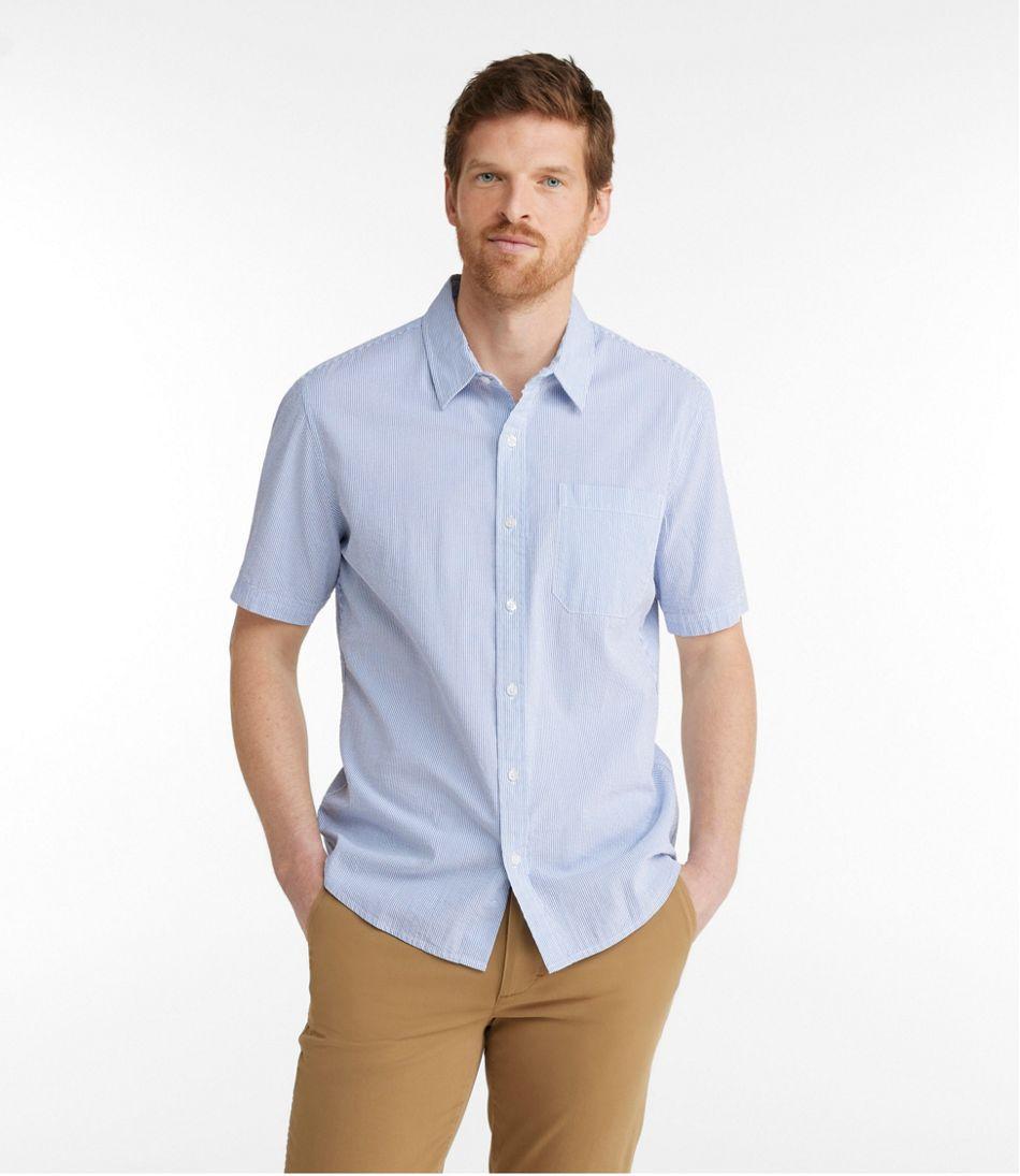 Men's Organic Seersucker Shirt, Short-Sleeve, Slightly Fitted, Stripe