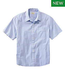 Men's Organic Seersucker Shirt, Short-Sleeve, Slightly Fitted, Stripe