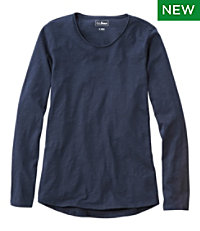 Women's Organic Cotton Tee, Scoopneck Long-Sleeve
