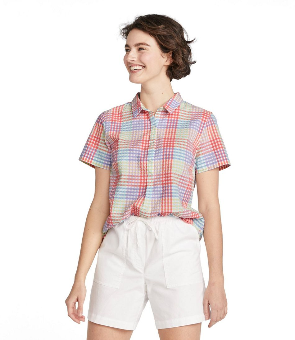 Vacationland Seersucker Shirt, Short-Sleeve Popover Plaid