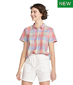 Women's Vacationland Seersucker Shirt, Short-Sleeve Popover Plaid