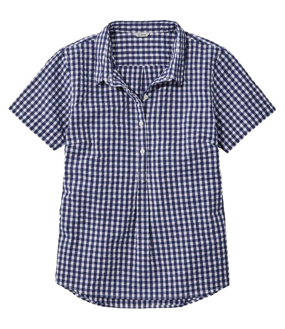Women's Vacationland Seersucker Shirt, Short-Sleeve Popover Plaid
