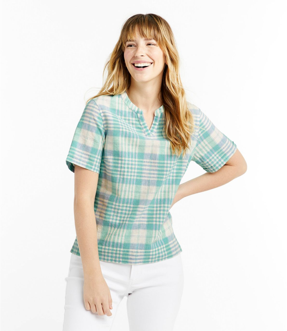 Women's Textured Linen/Cotton Shirt, Short-Sleeve Plaid