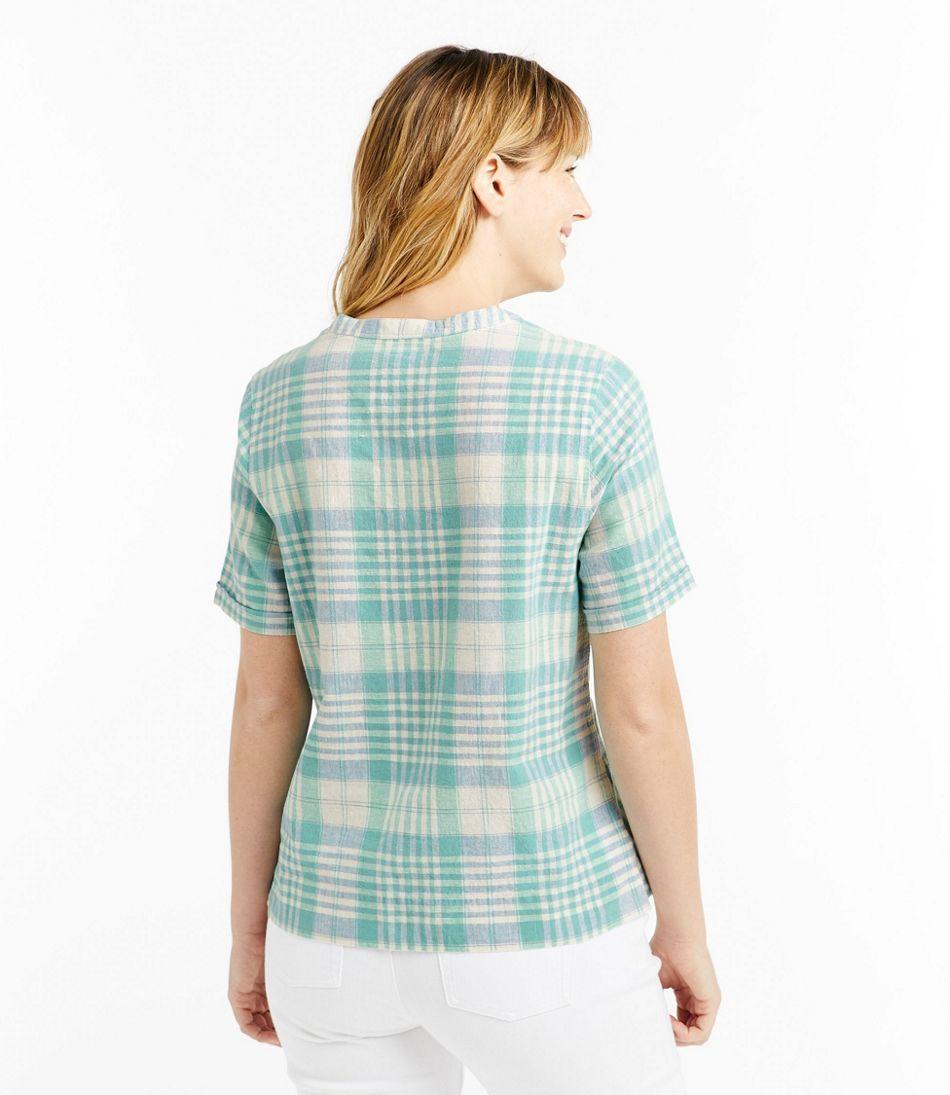 Women's Textured Linen/Cotton Shirt, Short-Sleeve Plaid