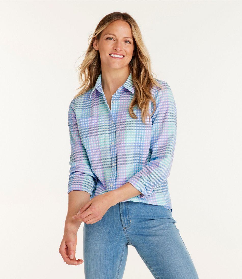 Women S Vacationland Seersucker Shirt Long Sleeve Plaid