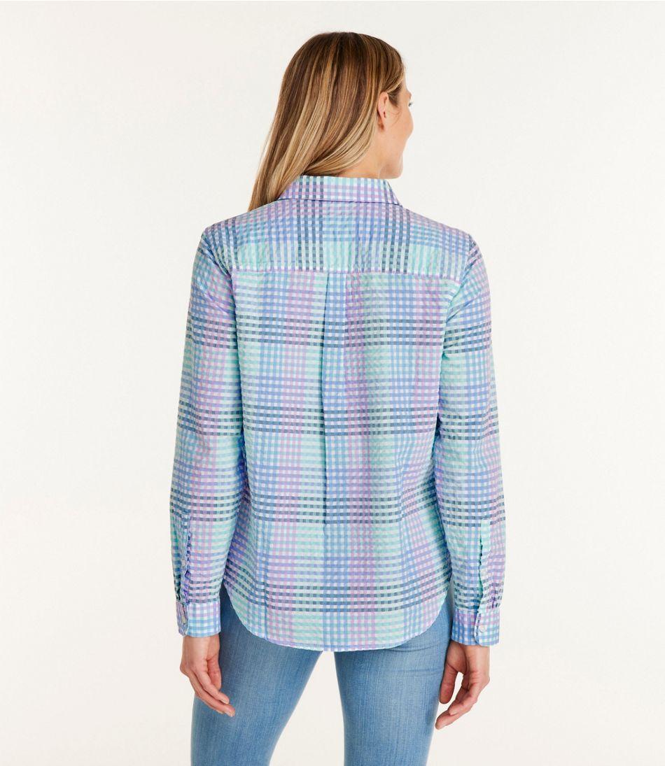 Women's Vacationland Seersucker Shirt, Long-Sleeve Plaid