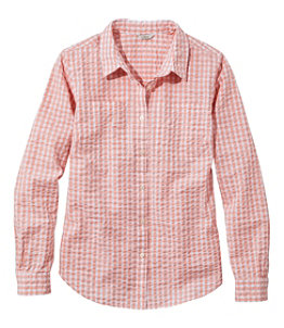 Women's Vacationland Seersucker Shirt, Long-Sleeve Plaid