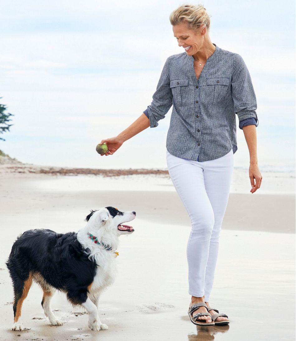 Women's Soft Cotton Crinkle Shirt, Roll-Tab Print