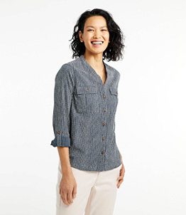 Women's Soft Cotton Crinkle Shirt, Roll-Tab Print