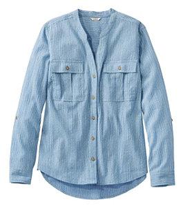 Women's Soft Organic Cotton Crinkle Shirt, Roll-Tab Print
