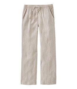 Women's Premium Washable Linen Pull-On Pants, Stripe